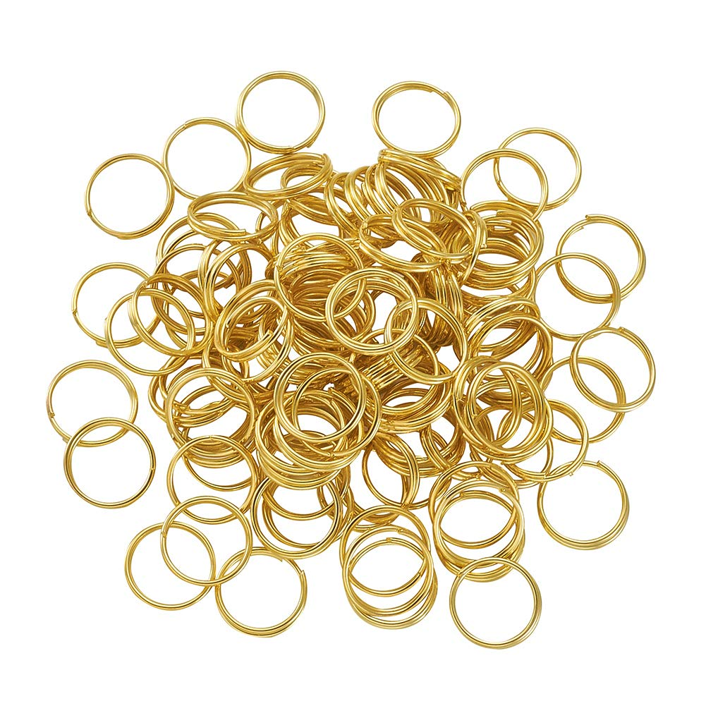 Kissitty About 200pcs Golden Plated Split Rings 10mm Iron Round Key Ring Double Loop Jump Rings for Home Car Keys Organization Jewelry Making