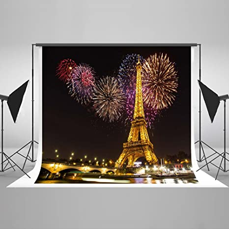 7x5ft Cotton Polyester Night Paris Light Eiffel Tower Colorful Fireworks  Wedding Decorations Photography Backdrop Seamless No