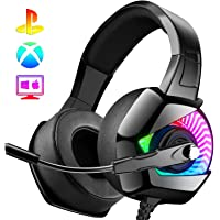 ANEAR Gaming Headset-PS4 Headset with Mic,7.1 Surround Sound & Blue Light Xbox One Headset,Gaming headphones PC Headset…
