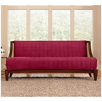 Sure Fit Quilted Velvet Furniture Friend Armless Sofa Slipcover, Burgundy