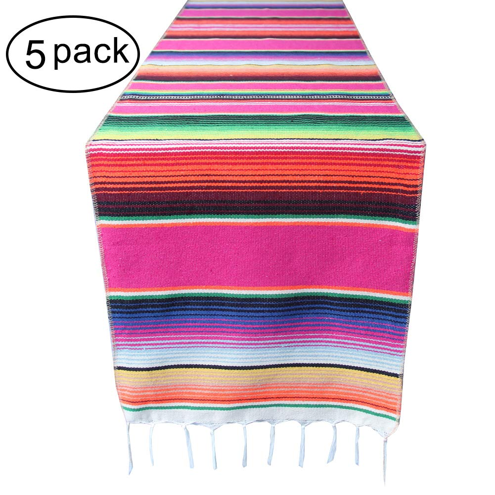 5 Packs Mexican Serape Table Runner with Tassels for Mexican Home Party Decorations Christmas Thanksgiving Outdoor Wedding Ceremony, Colorful Striped Handwoven Fringe Cotton Blanket, Pink,14x84 inches