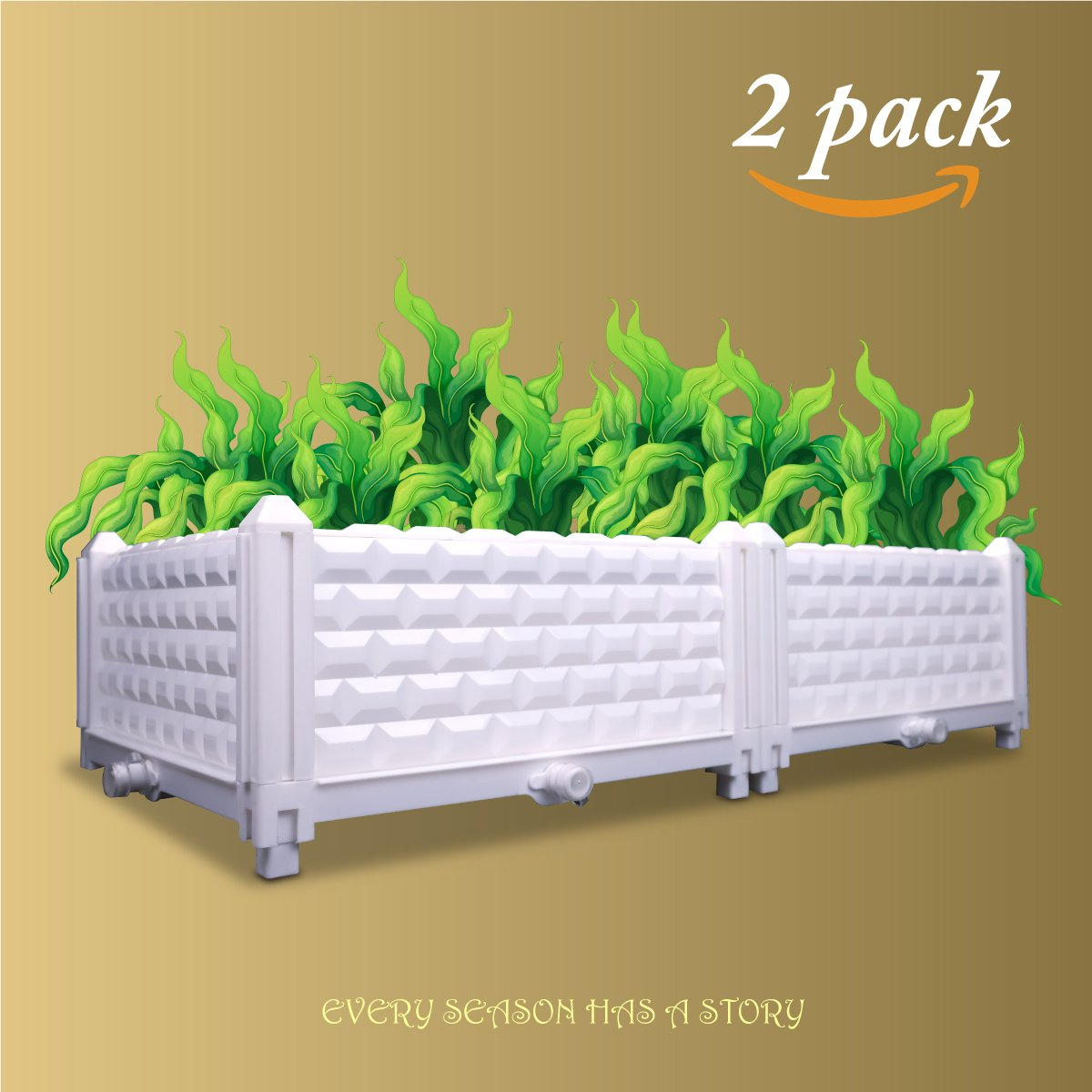 ZOOOBELIVES DIY Multiple Combination Assembly Planter Boxes, Garden/Balcony/Backyard/Rooftop Kit 2pack (2Pack)