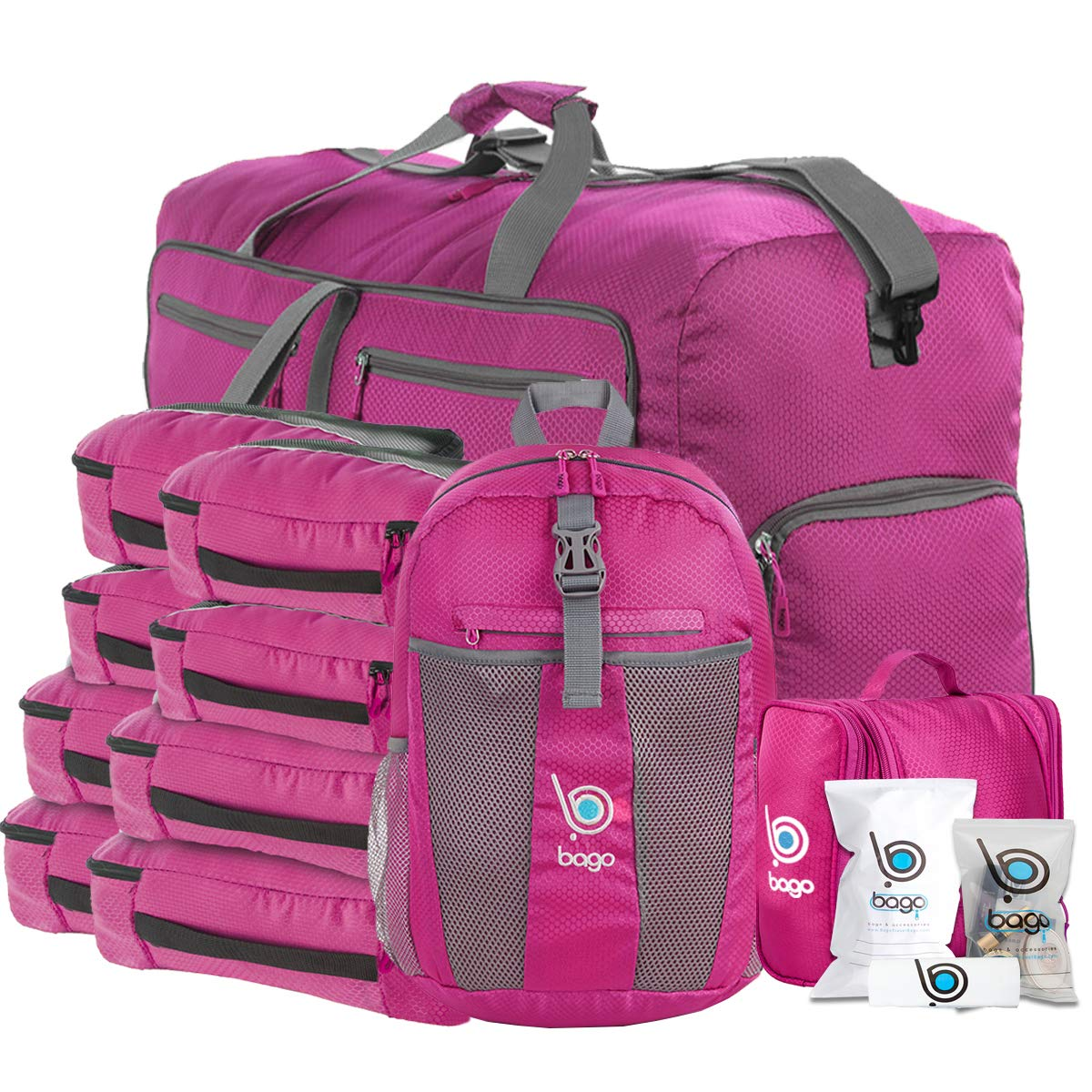 Bago Travel Luggage Set - 27'' Duffle - 8 Packing Cubes - Backpack & Toiletry Bag (Pink)