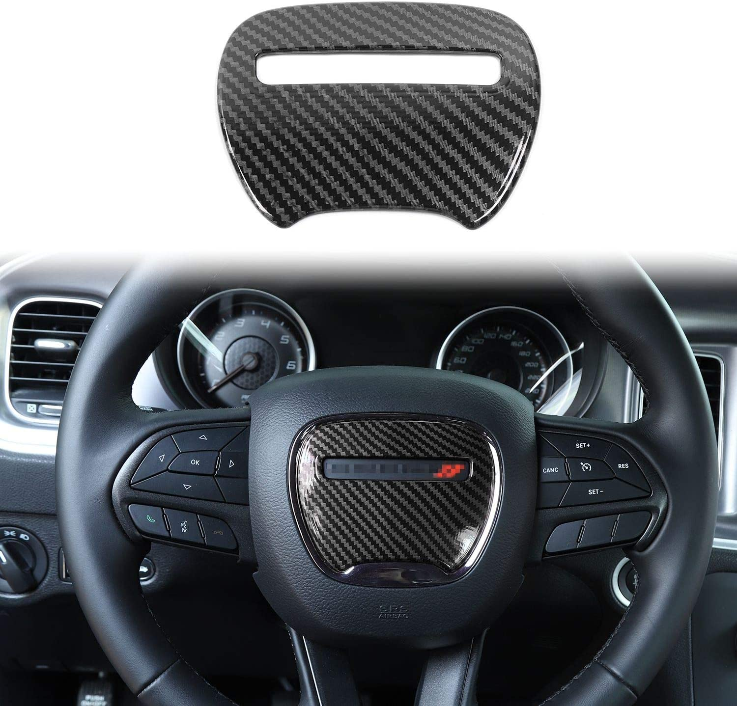 Voodonala for Charger Real Carbon Fiber Microphone Decorative Trim for 2015-2019 Dodge Charger 2pcs