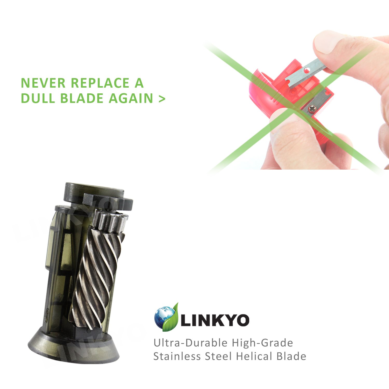 LINKYO Electric Pencil Sharpener with Automatic Smart Sensor for Kids and Home Use, Gray by LINKYO (Image #7)