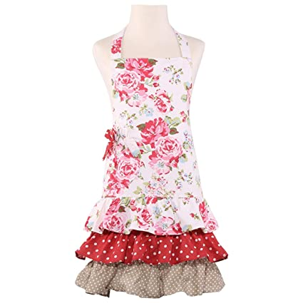 0879286e3114 Amazon.com: NEOVIVA Children Kitchen Aprons for Girls with Pocket for Matching  Mother and Daughter Apron Set, Style Doris, Floral Lollipop Red: Home & ...