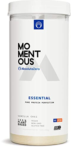 Essential Plant-Based Protein Powder, 20 Servings Per Jar for Essential Everyday Use, Vegan, Gluten-Free, Non-GMO, NSF Certified Live Momentous Vanilla