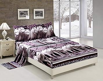 3 Piece Set Mountain Wolves Soft 3d Comforter Queen 08