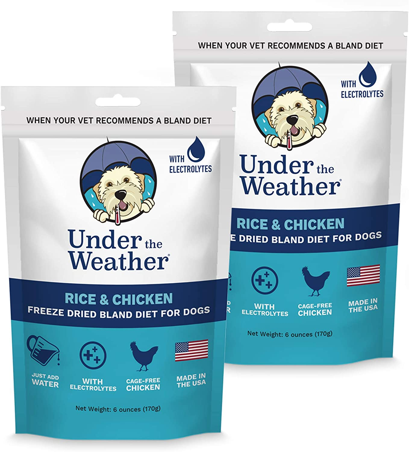 Under the Weather Pets   Easy to Digest Bland Dog Food Diet, Sick Dogs Sensitive Stomachs - Electrolytes - Gluten Free, All Natural, Freeze Dried 100% Human Grade Meat (Rice, Chicken - 2 Pack)