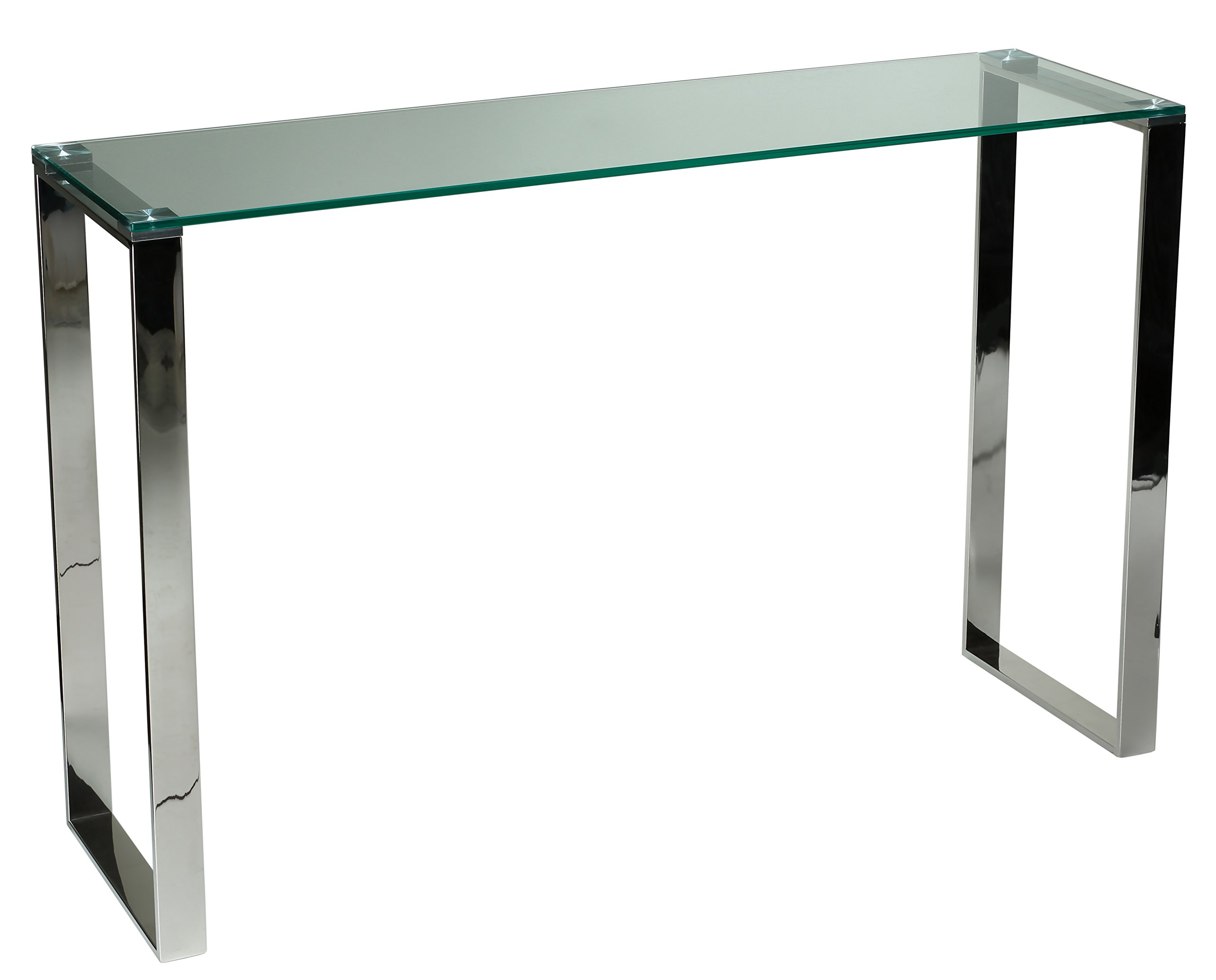 Cortesi Home Remi Contemporary Glass Console Table with Chrome Finish