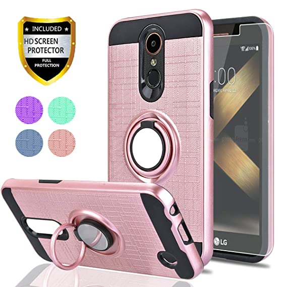 LG K20 Plus/K20 V/Harmony/Grace LTE/K10 2017 Case with HD Screen Protector,Ymhxcy 360 Degree Rotating Ring & Bracket Rubber Dual Layer Shock Bumper ...