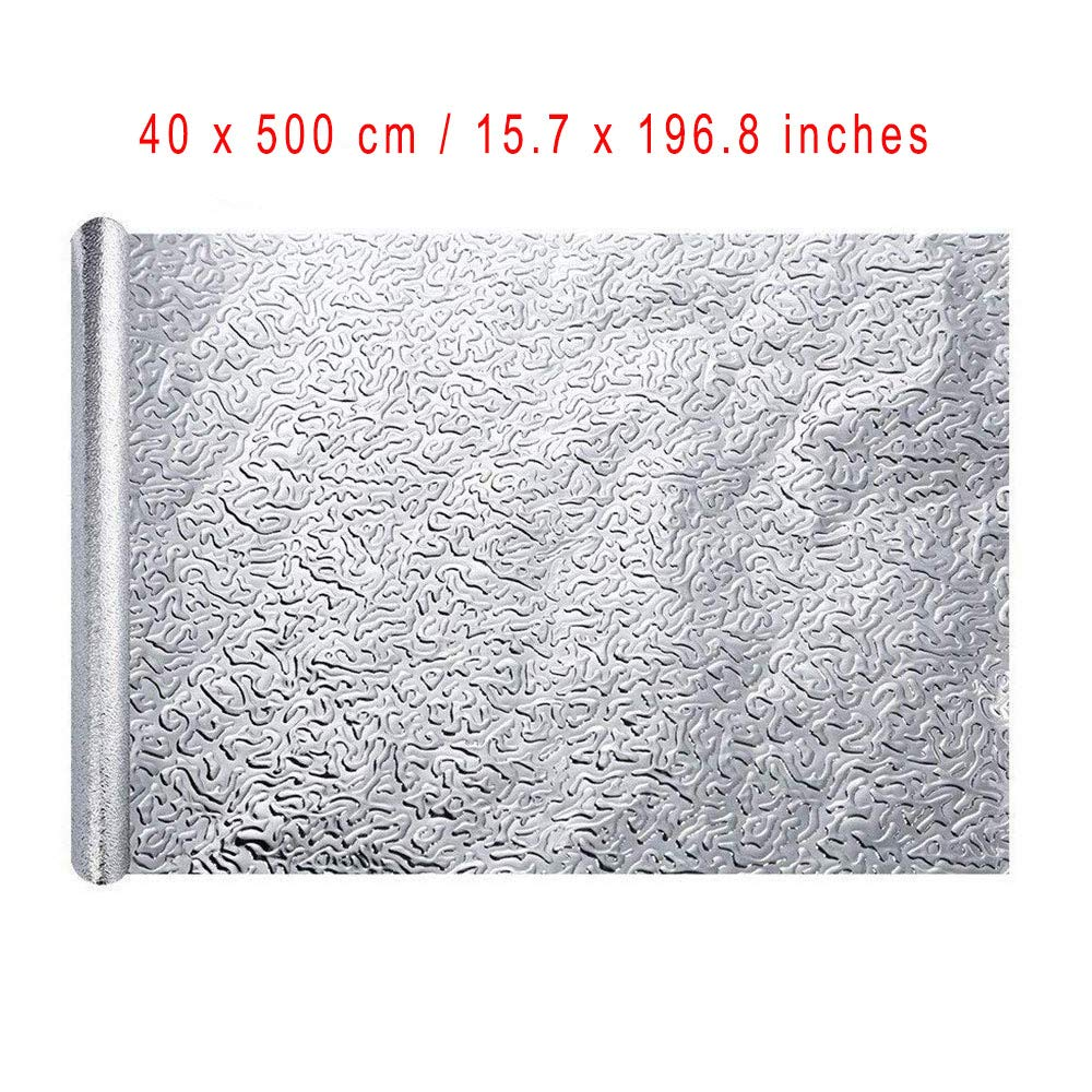 2 Piezas Aluminio Papel Pintado Cocina Estilo Textura Rombo Mesas Papel Aluminio Autoadhesivo Papel Cocina Impermeable a Prueba Aceite Para Muebles