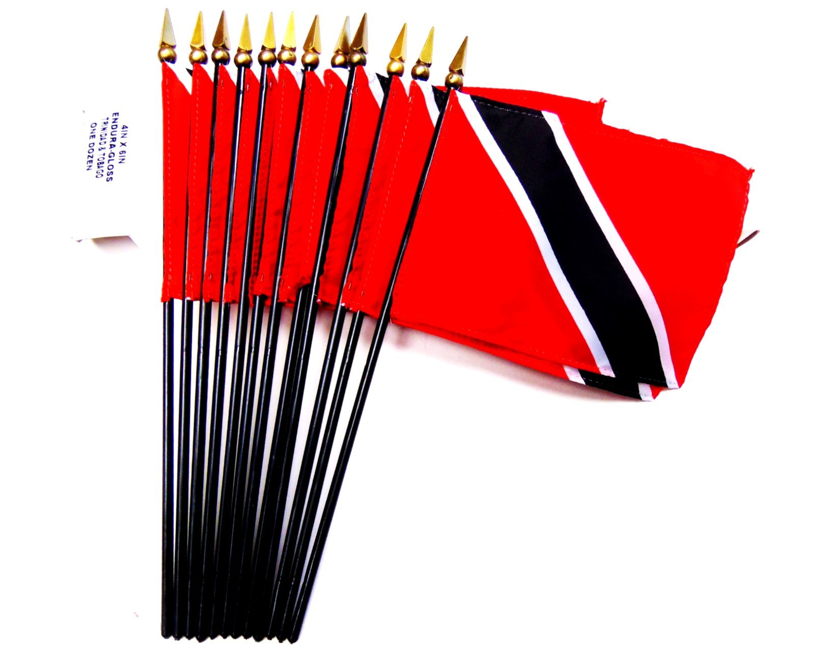 MADE IN USA!! Box of 12 Trinidad and Tobago 4''x6'' Miniature Desk & Table Flags; 12 American Made Small Mini Trinidad Flags in a Custom Made Cardboard Box Specifically Made for These Flags