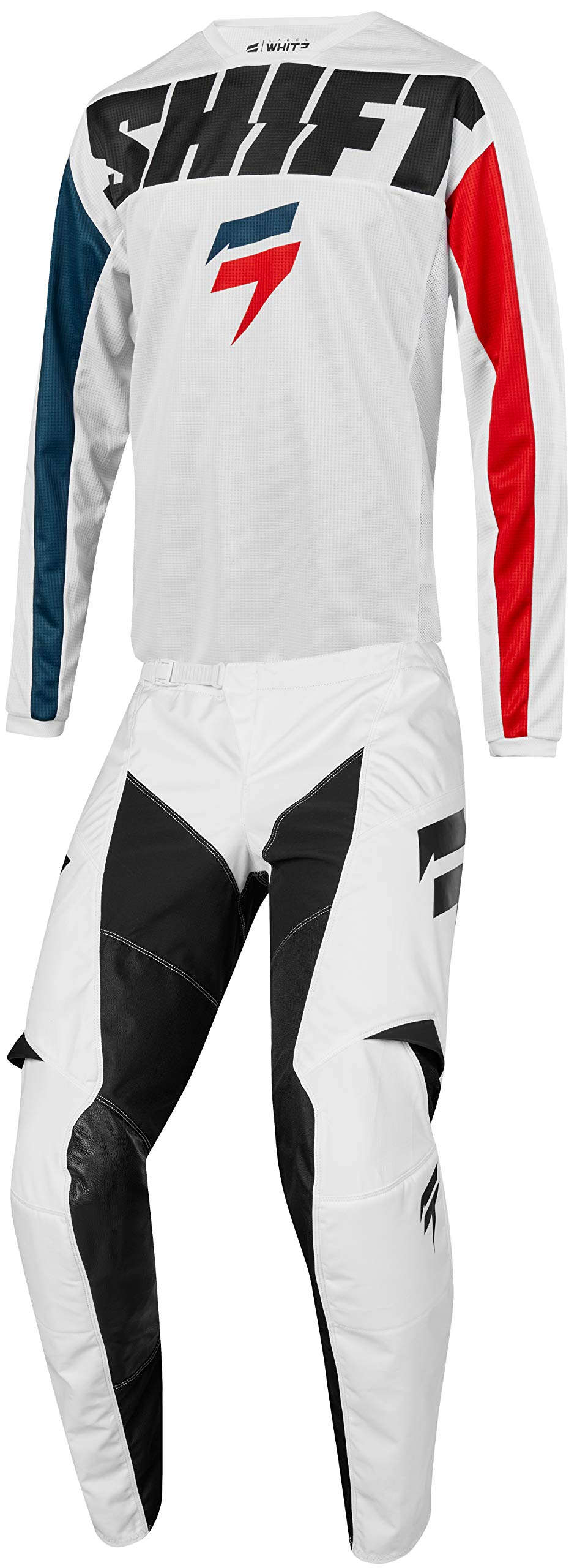 Shift MX 2019 White Label York Motocross Off-Road Dirt Bike Riding Gear Combo (Mens Red & White & Blue Jersey 2X-Large/38W Pant)