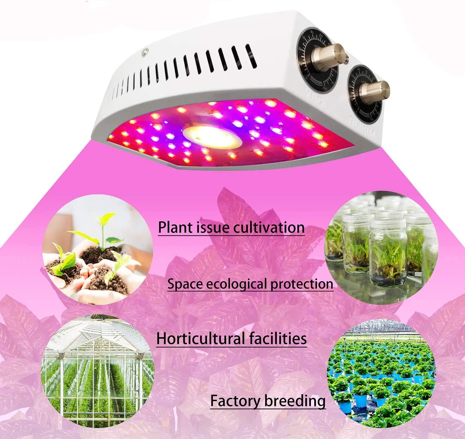 BeautyTrees COB LED Grow Light w/ Double Adjustable Knobs