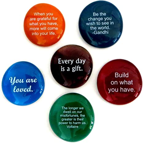 Lifeforce Glass Encouragement Stones Set of 6 Motivational and Inspirational Quotes and Sayings on Translucent and Opaque Glass Stones