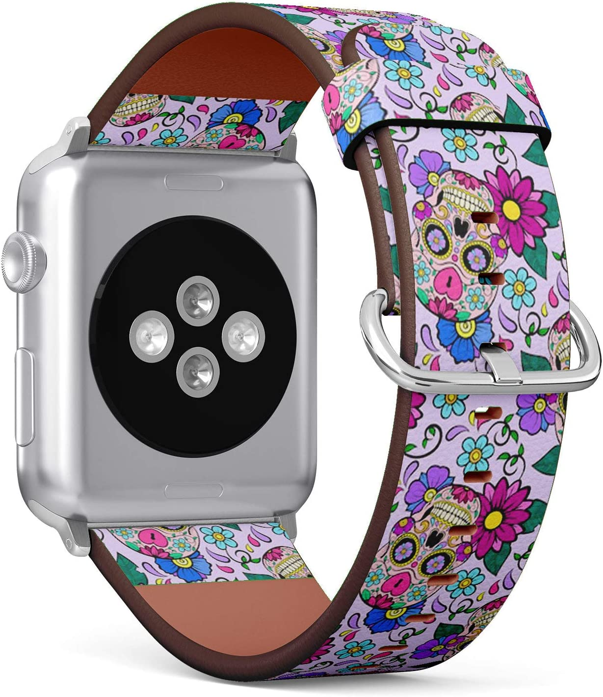 Compatible with Small Apple Watch 38mm & 40mm (All Series) Leather Watch Wrist Band Strap Bracelet with Stainless Steel Clasp and Adapters (Festive Sugar Skulls Heart)
