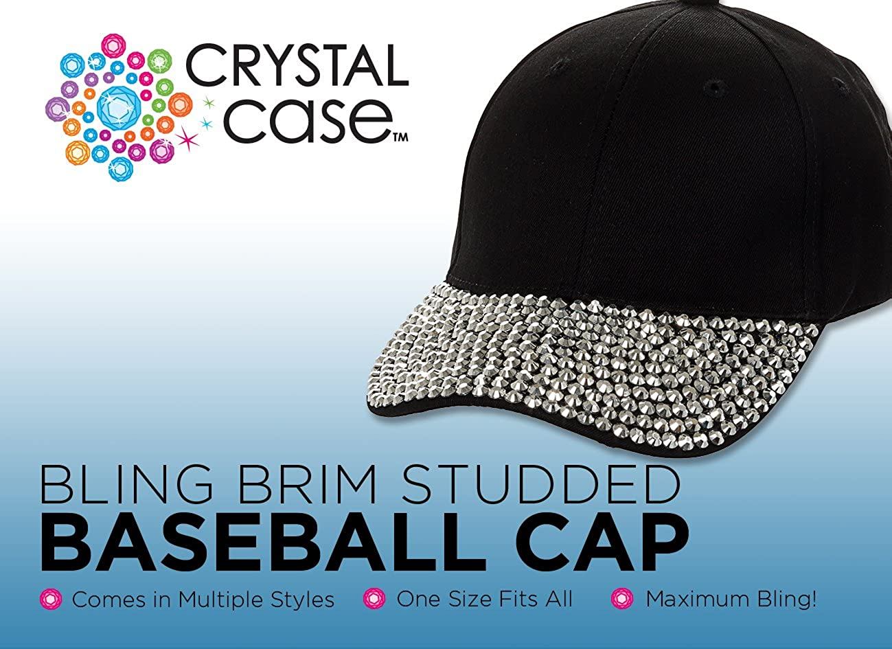 d1105cf41b8 Amazon.com  Crystal Case Studded Rhinestone Brim Adjustable Baseball Cap Hat  (Pink)  Clothing