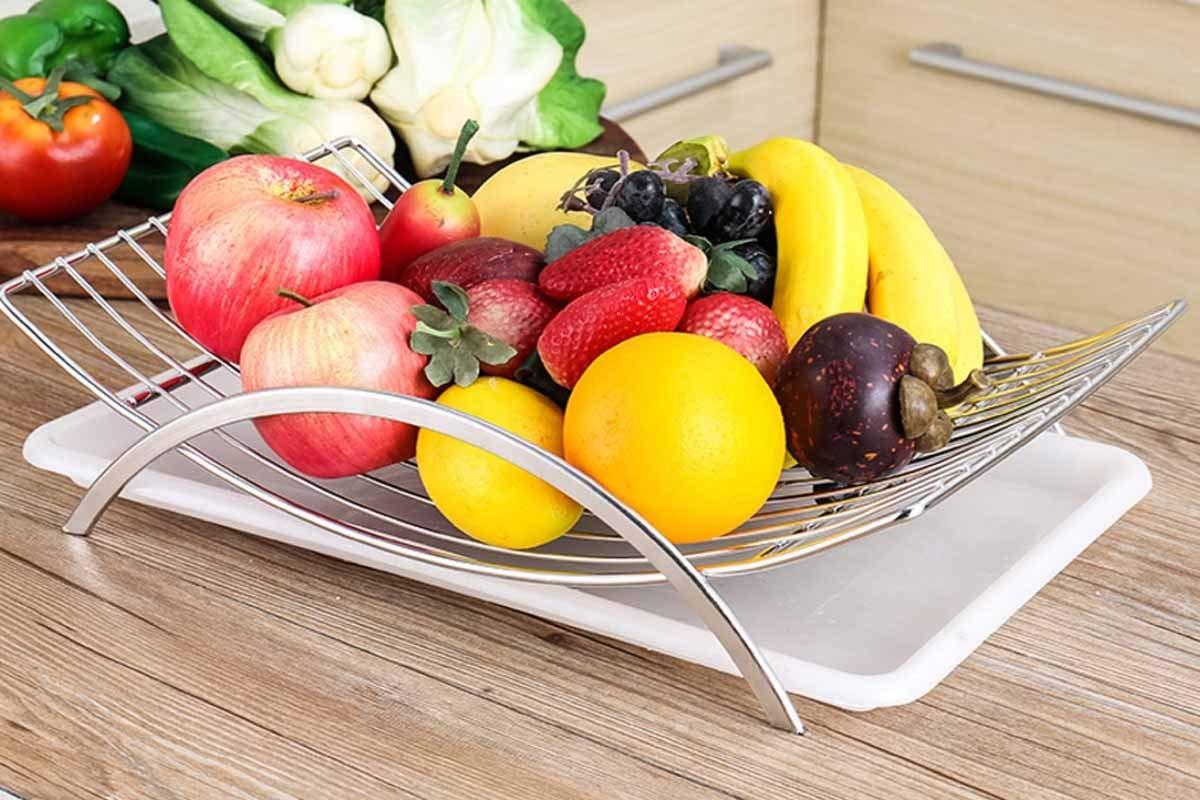 White have Creative Stainless Steel Fruit Basket Color : White European Creative Drain Decoration Storage Basket Boyuanweiye Fruit Plate