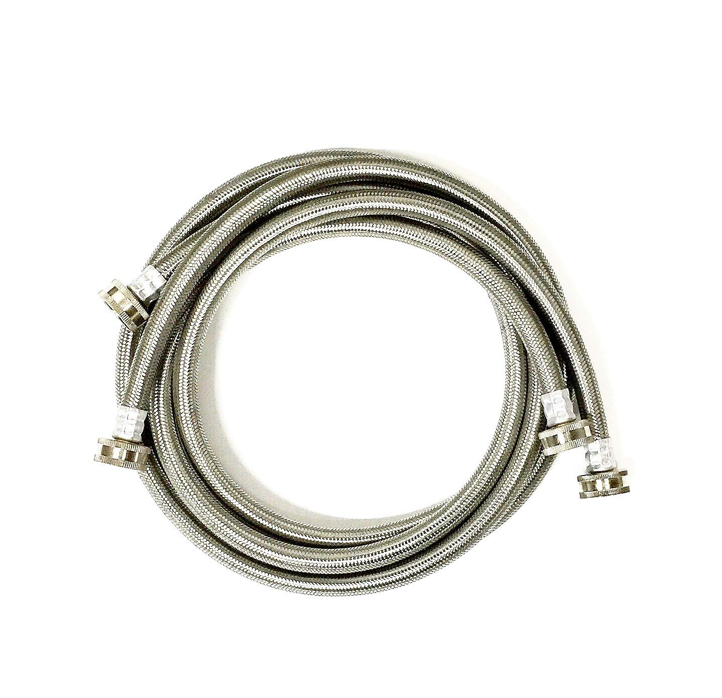 2-Pack Premium Stainless Steel Washing Machine Hoses - 5 FT No-Lead Burst Proof Water Inlet Supply Lines - Universal Connection - 10 Year Warranty