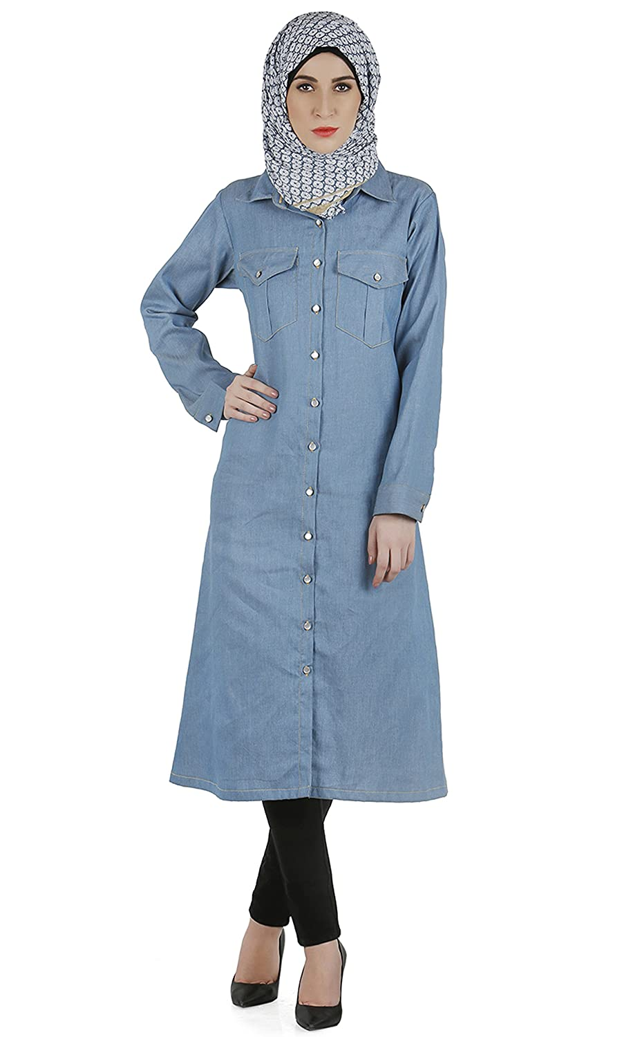 Modest Forever Long denim shirt dress modestforever