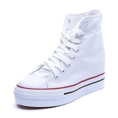 MForshop Scarpe Donna Sneakers Sportive Zeppa Interna 5 cm Ginnastica Tela  Platform G565