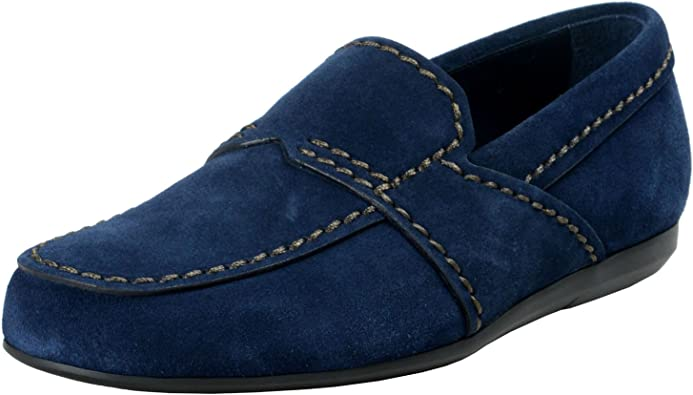 Blue Suede Leather Loafers Slip On