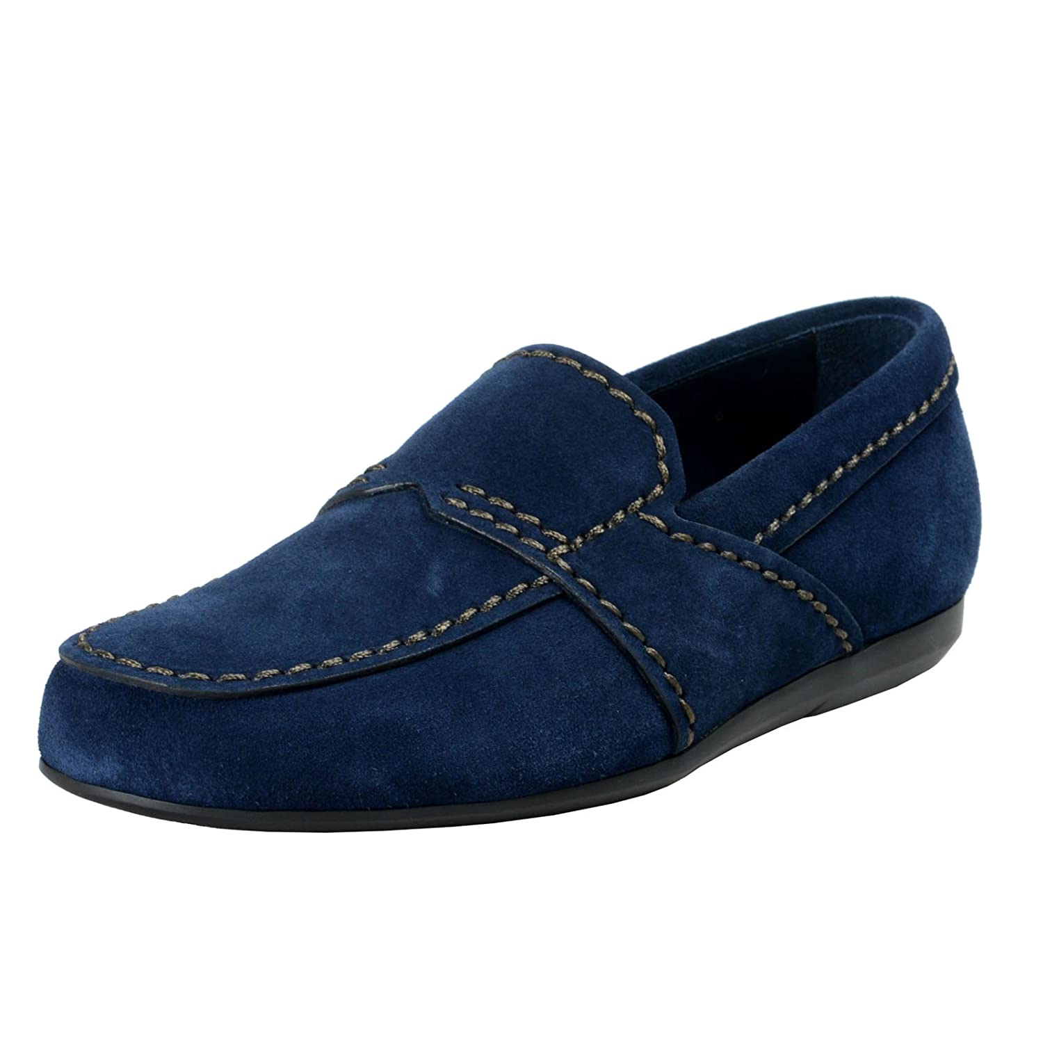 c19485fb8a6 ... low cost amazon prada mens blue suede leather loafers slip on shoes sz  us 11 eu