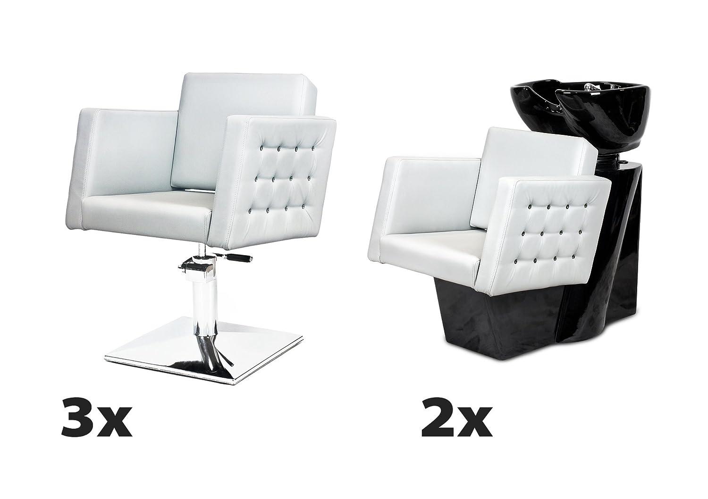 CRISTAL 3 x Fauteuil de salon + 2 x bac à shampoing, 100 couleurs d'ameublement MADE with SWAROVSKI ELEMENTS