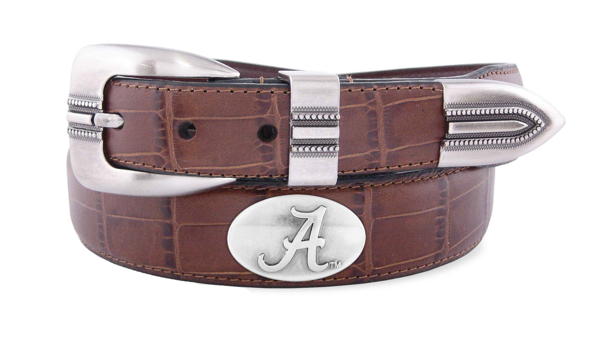 NCAA Alabama Crimson Tide Tan Crocodile Tip Leather Concho Belt, 34
