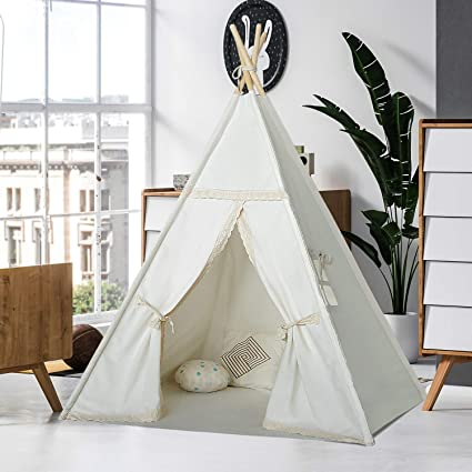 sale retailer 631c9 fbe04 Kids Teepee Tent for Girls Children Play Teepee Play House Organic Canvas  Lace Teepee for Girls Kids Toddlers Baby Indoor Outdoor Tipi Tent with Mat  ...