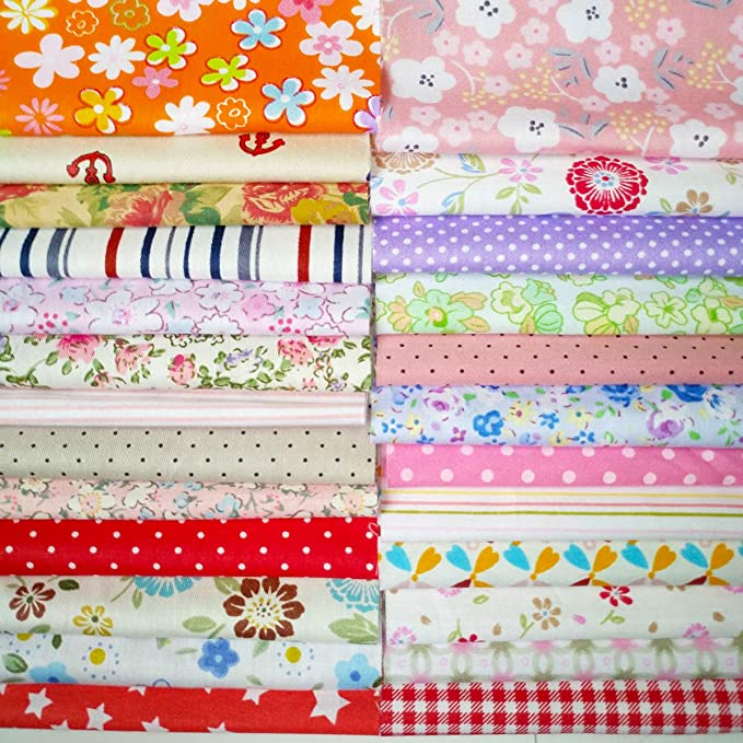 Misscrafts 7PCS Birds Owls Prints Fabric 18 x 22 Cotton Fabric Bundles for Sewing Patchwork Fat Quarters Fabric Craft Supplies