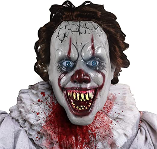 Scary Latex Horror Clown Mask Halloween CosplayParty Costumes Fancy Dress Prop