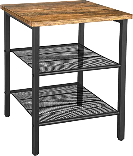 BEEWOOT End Table Industrial Nightstand Side Table with Storage Shelf for Living Room, Bedroom, Stable Metal Frame and Easy Assembly Rustic Brown TB01BB001