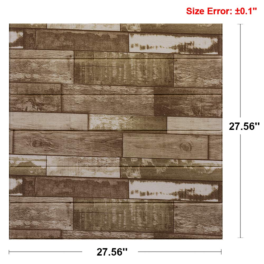 AMERLIFE 3D Wallpaper Rustic Brick Wall Panel Self Adhesive Stacked Stone Tiles Half Inch Thickness Soft PE Foam Wallpaper White 27.56 L x 23.62 W 10 Pack