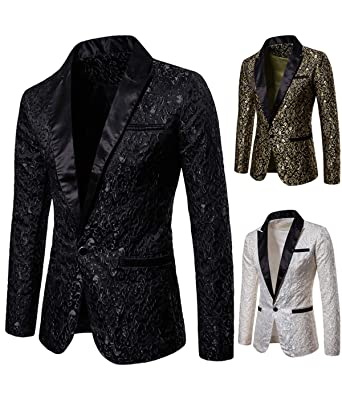 Blazers Suits & Blazers Open-Minded Mens Sing Breasted Two Button Blazer Jacket 2018 Fashion Gold Floral Printed Suit Blazer Men Party Dance Perform Stage Costumes