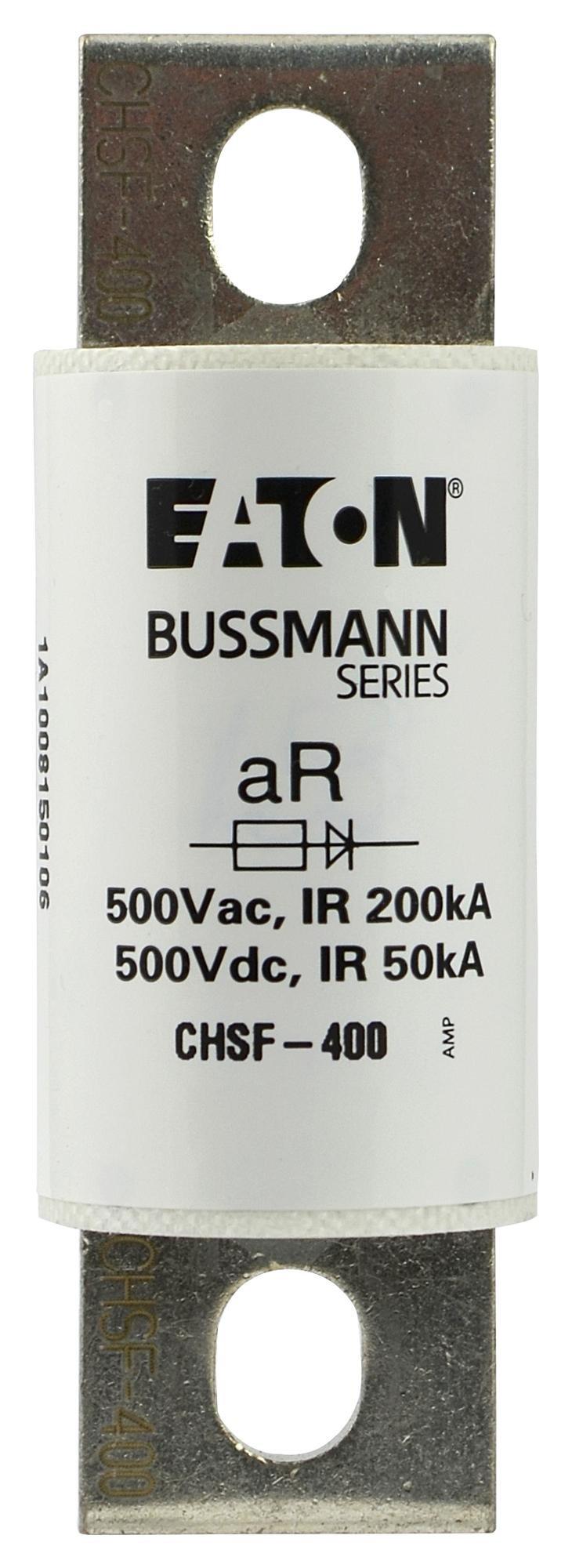 EATON BUSSMANN SERIES CHSF-400 Fuse, Semiconductor, CHSF Series, 400 A, 30mm x 92mm, 1.18 inch x 3.62 inch, 500 VDC