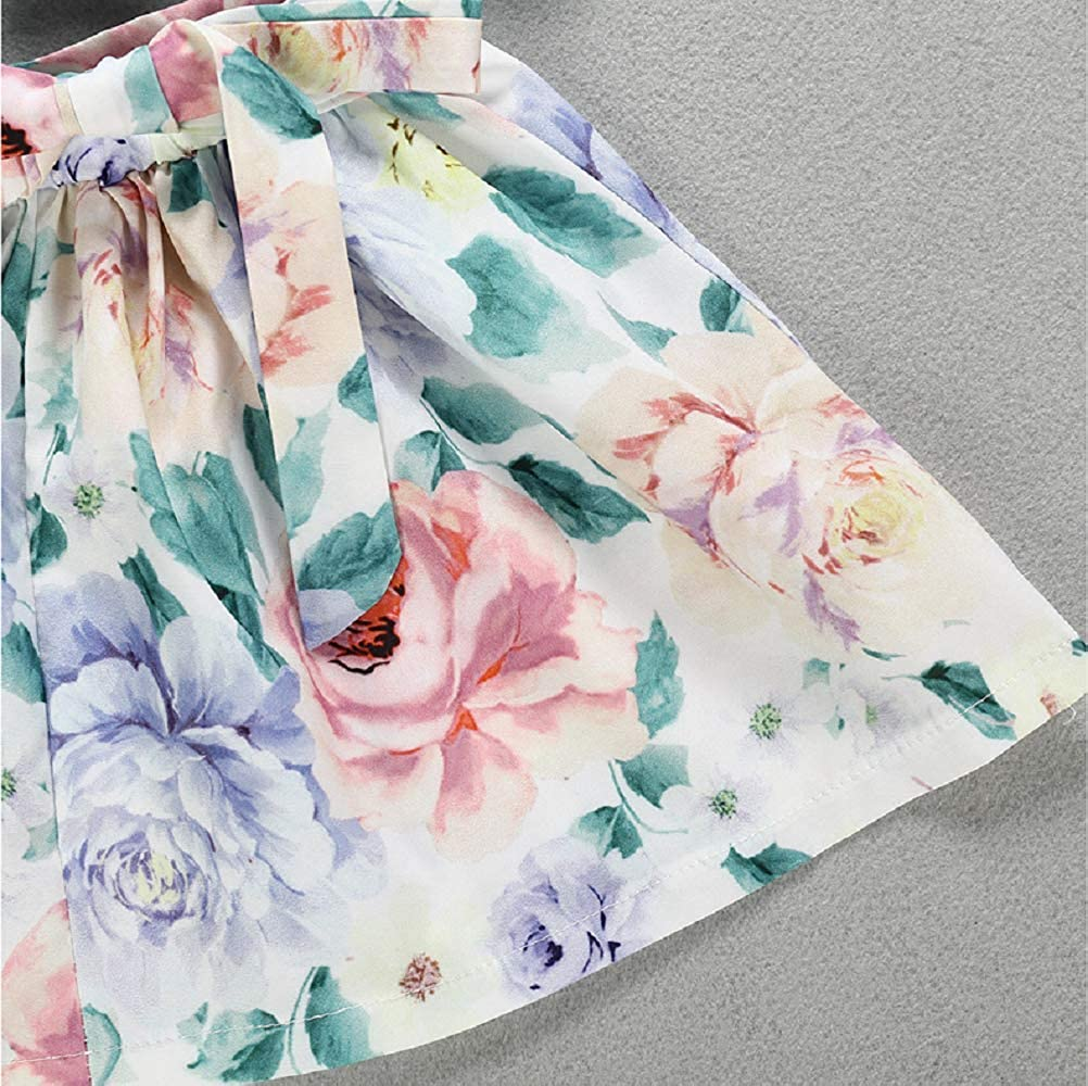 Boho Skirts Flowers Strappy Lace Sleeveless Outfit Kids Clothes HenzWorld Little Girls Floral Skirt Set Button Tank Top