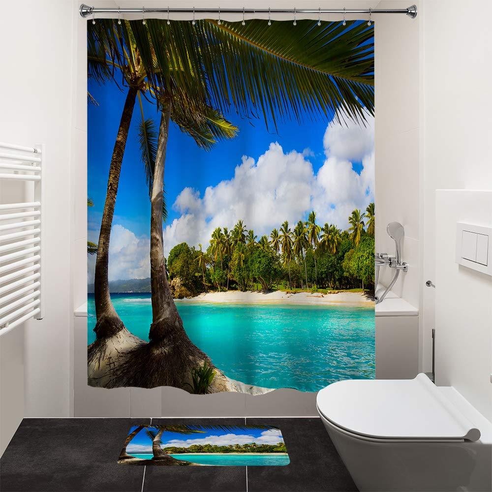 Beach Island Palm Tree Bathroom Shower Curtain 12 Hooks Polyester Waterproof
