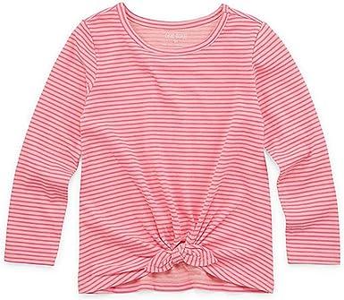 Okie Dokie Girls Round Neck Long Sleeve T-Shirt-Toddler White, 4t