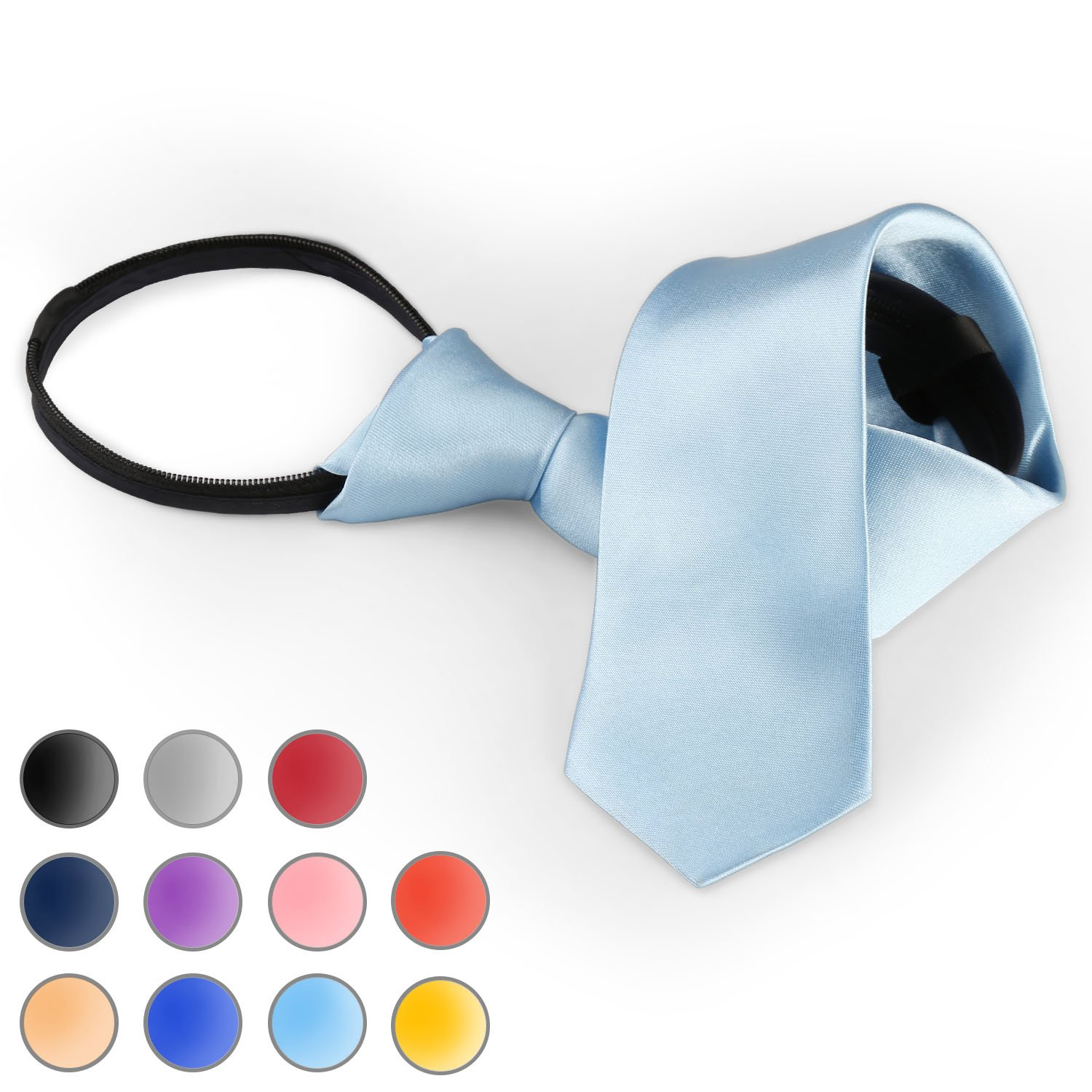 Brooben Boys Satin Zipper Neck Tie 14 inch Children Wedding Tie NK1 Navy