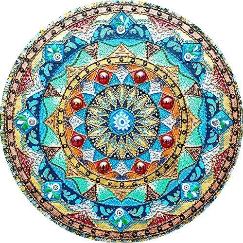 Non-Slip Rubber Round Mouse Pad Perfect for Working and Gaming Beautiful Oil Painting Watercolor Style Mandala Flower Background