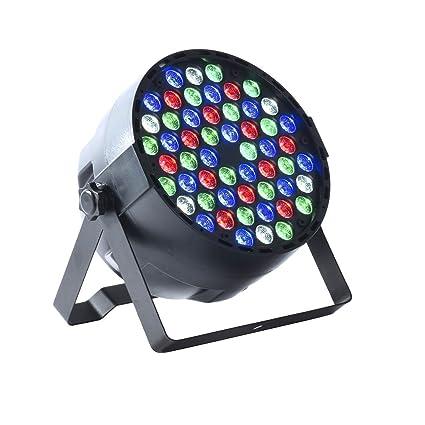 Maxmer Luz Discoteca 54W 54 LED 12 Rojo, 18 Verde, 18 Azul, 6 Blanco, Mini Luz Giratoria Ultra-brillante: Amazon.es: Iluminación