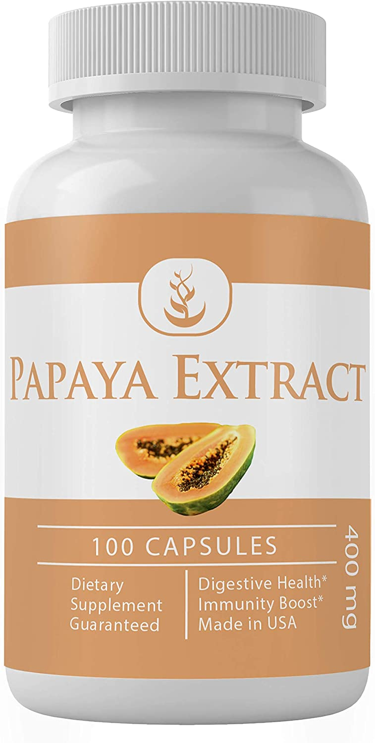 Papaya Extract (100 Capsules) Natural & Potent for Hair, Skin & Digestion* (400 mg Serving)