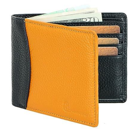 990e45ec6c26 Image Unavailable. Image not available for. Colour: 8Sanlione Mens Wallet  Genuine Leather Rfid Blocking Slim Pocket Wallet Money ...