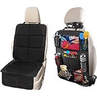 Protector de asiento de coche y organizador de asiento de coche, 2 paquetes, protector de asiento de bebé de tela…