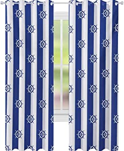 """YUAZHOQI Ships Wheel Window Curtain Sailor Stripes Breton with Silhouettes of Ships Wheels Classic Artwork Blackout Draperies for Bedroom 52"""" x 84"""" Royal Blue White"""