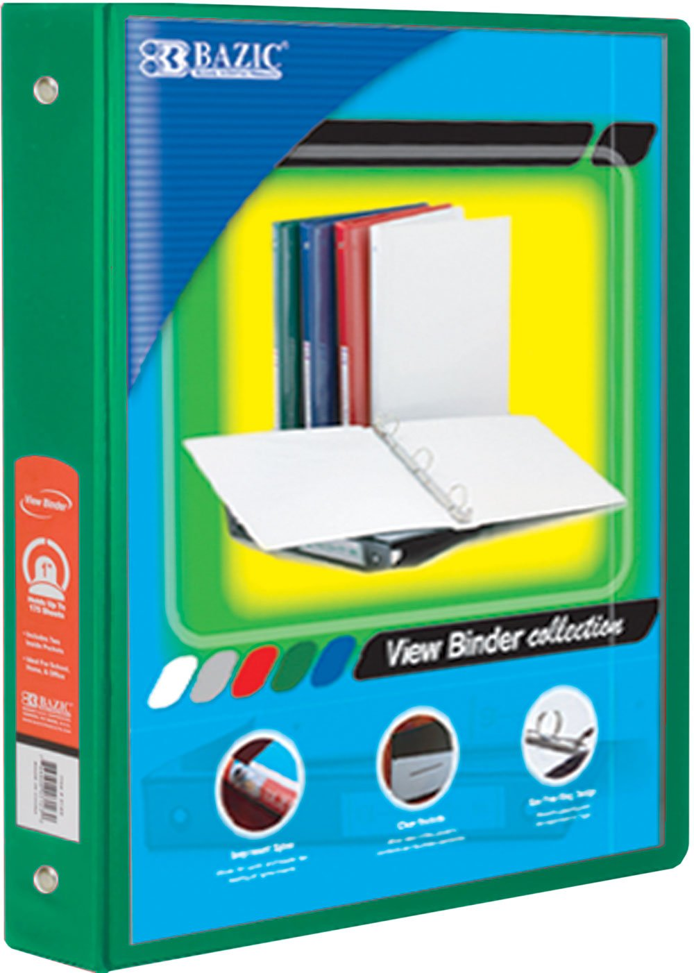 BAZIC 1.5'' Green 3-Ring View Binder w/2-Pockets, Case of 12 (4142-12)