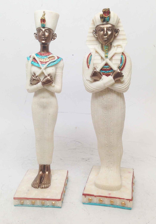Guardianes de la antigua las tumbas Tutankamón egipcio y Nefertiti Escultura juego de dos: Amazon.es: Hogar