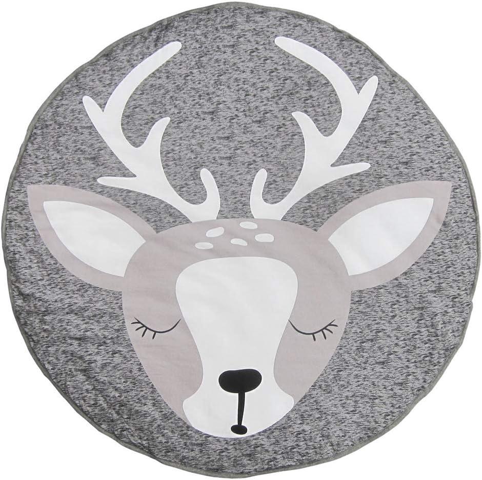 Leoie Kids Cartoon Printing Game Mat Play Crawling Gym Blanket Babys Room Floor Rug Decoration reindeer 90 90cm